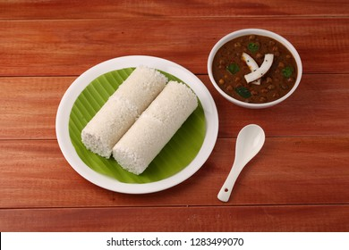 puttu with bengal gram curry delicious kerala breakfast with wooden texture