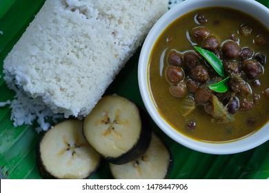 Puttu with Kadala curry - Popular Kerala breakfast overhead view