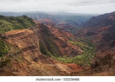 Pu`u Hinahina lookout offers one of the best views into Waimea Canyon on Kauai, Hawai'i