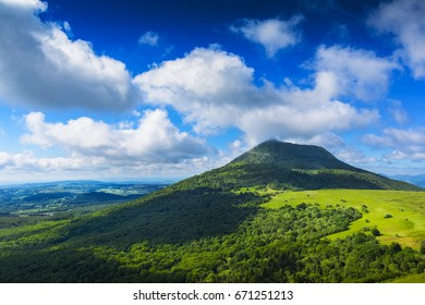 Puy de Dome mountain and Auvergne landscape, France