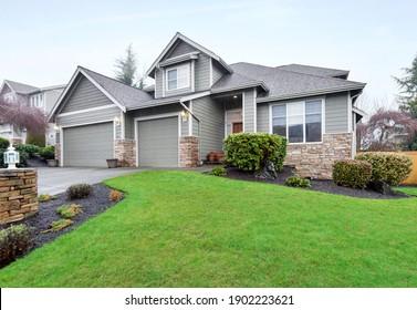 Puyallup, WA, USA - Jan. 11, 2021: Modern residential exterior