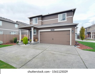 Puyallup, WA / USA - Nov. 14, 2019: Luxury residential front exterior