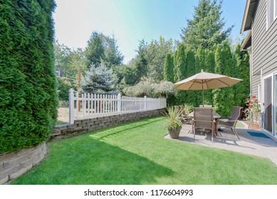 Puyallup, WA / USA - Sept. 6, 2018: Residential backyard exterior
