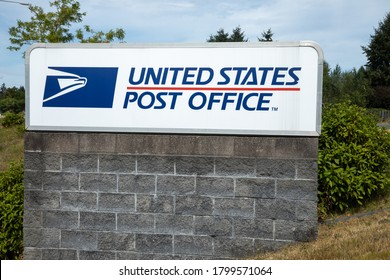 """Puyallup, Washington / USA - August 20 2020: """"United States Post Office"""" sign"""