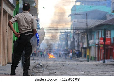Puyo - Ecuador, 7-10-2019: strike on a national level due to oil prise rise closing the roads throughout the country