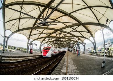 Puyuma Express(Tilting Train) at Dongshan Station.March 13,2018.Yilan,Taiwan