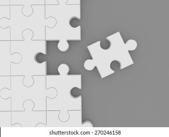 White Unsolved Jigsaw Puzzle Isolated On Stock Illustration