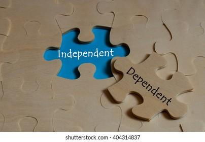 puzzle with Antonym concept of Independent versus Dependent