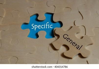puzzle with Antonym concept of specific versus General