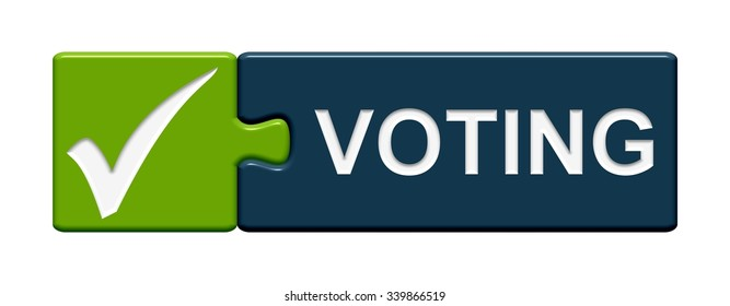 Puzzle Button green blue with hook showing voting