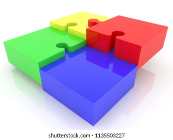 Puzzle concept in different colors.3d illustration