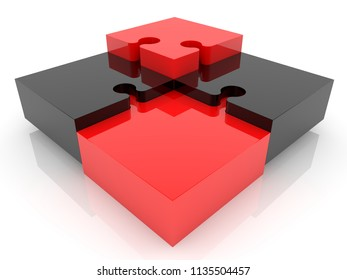 Puzzle concept in red and black colors.3d illustration
