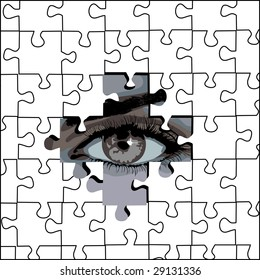 puzzle and eye, background