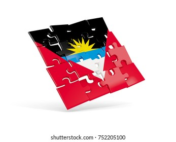 Puzzle flag of antigua and barbuda isolated on white. 3D illustration