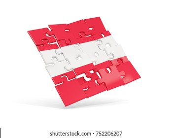 Puzzle flag of austria isolated on white. 3D illustration