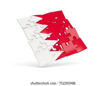 Puzzle flag of bahrain isolated on white. 3D illustration