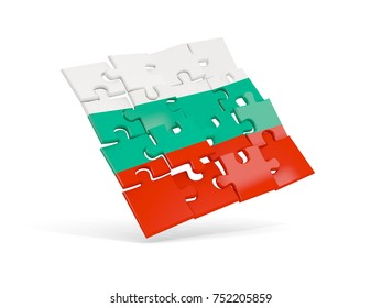 Puzzle flag of bulgaria isolated on white. 3D illustration