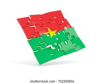 Puzzle flag of burkina faso isolated on white. 3D illustration
