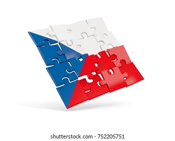 Puzzle flag of czech republic isolated on white. 3D illustration