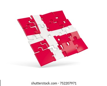 Puzzle flag of denmark isolated on white. 3D illustration