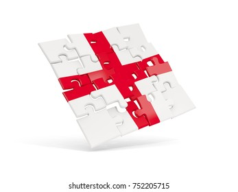 Puzzle flag of england isolated on white. 3D illustration