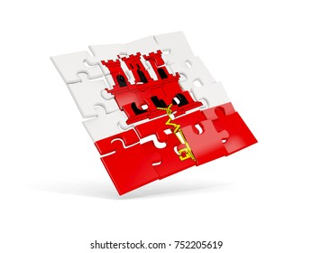 Puzzle flag of gibraltar isolated on white. 3D illustration