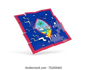 Puzzle flag of guam isolated on white. 3D illustration