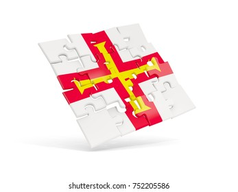 Puzzle flag of guernsey isolated on white. 3D illustration