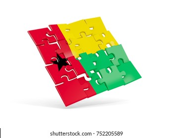 Puzzle flag of guinea bissau isolated on white. 3D illustration