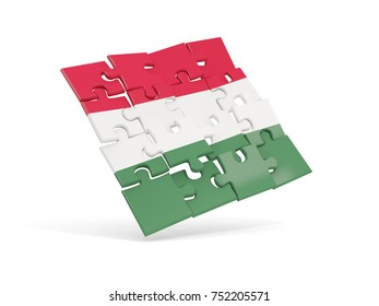 Puzzle flag of hungary isolated on white. 3D illustration