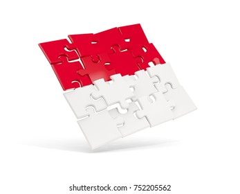Puzzle flag of indonesia isolated on white. 3D illustration