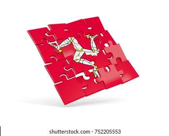 Puzzle flag of isle of man isolated on white. 3D illustration