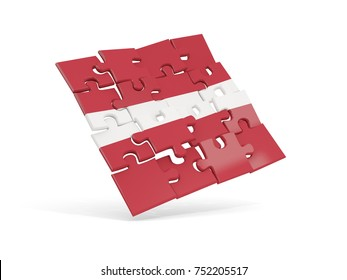 Puzzle flag of latvia isolated on white. 3D illustration