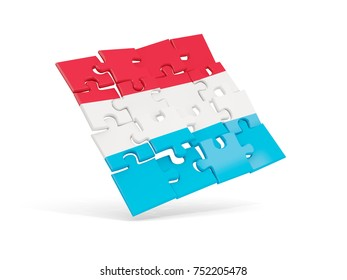 Puzzle flag of luxembourg isolated on white. 3D illustration
