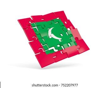 Puzzle flag of maldives isolated on white. 3D illustration