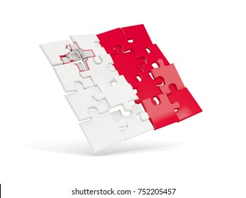 Puzzle flag of malta isolated on white. 3D illustration