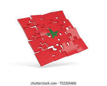 Puzzle flag of morocco isolated on white. 3D illustration