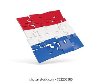 Puzzle flag of netherlands isolated on white. 3D illustration