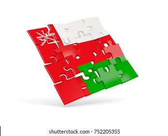 Puzzle flag of oman isolated on white. 3D illustration