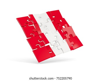 Puzzle flag of peru isolated on white. 3D illustration
