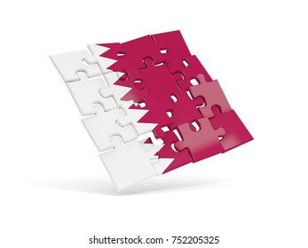 Puzzle flag of qatar isolated on white. 3D illustration