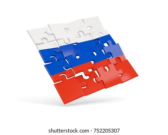 Puzzle flag of russia isolated on white. 3D illustration
