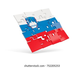 Puzzle flag of slovenia isolated on white. 3D illustration