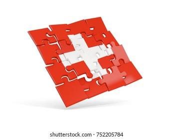 Puzzle flag of switzerland isolated on white. 3D illustration