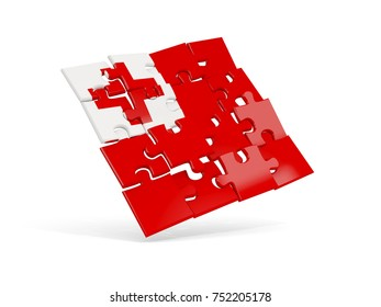 Puzzle flag of tonga isolated on white. 3D illustration