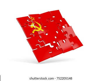 Puzzle flag of ussr isolated on white. 3D illustration