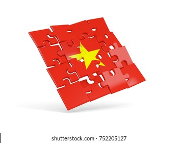 Puzzle flag of vietnam isolated on white. 3D illustration