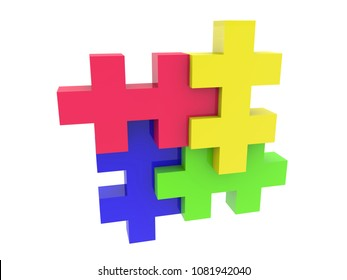 Puzzle in four colors.3d illustration