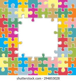 Puzzle frame background. Raster version