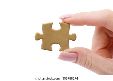 puzzle in hands isolated on white background